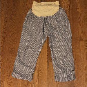 Motherhood Maternity linen crop pants; Size L